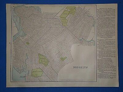 Vintage 1889 BROOKLYN, NEW YORK MAP ~ Old Antique Original Atlas Map 111318