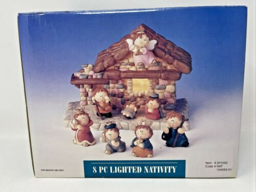 New 8 Piece Lighted Nativity Set #201052 Ceramic Child Like Figures In Box