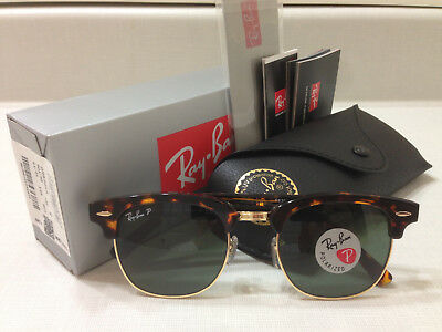 Ray Ban Clubmaster Sunglasses POLARIZED Green Lens Tortoise Havana Frame 51MM.