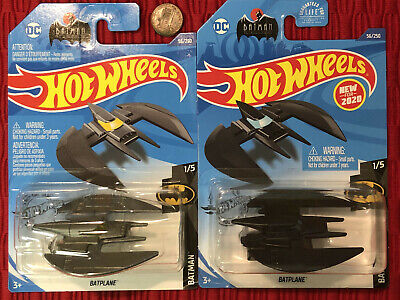 2020 Lot of 2 Hot Wheels Batman 1/5 - Batplane Black & Gray-Silver Variations