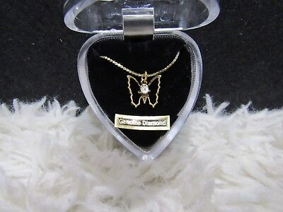Genuine Diamond Gold-Toned Butterfly Pendant Dainty Necklace, New in Heart Box