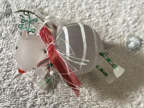 Christmas ornament acrylic reindeer springs feet tail CH4072