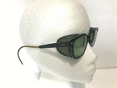 Vtg. Steampunk Mcm Green Lense Welding Safety Goggles Motorcycle Aviator Folding