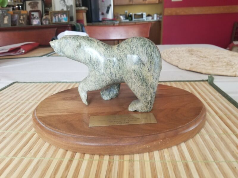 Inuit Art Eskimo Vintage Stone  Carved Bear