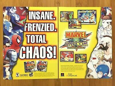 Marvel vs. Capcom Dreamcast PS1 1999 Vintage Print Ad/Poster Official Art Rare