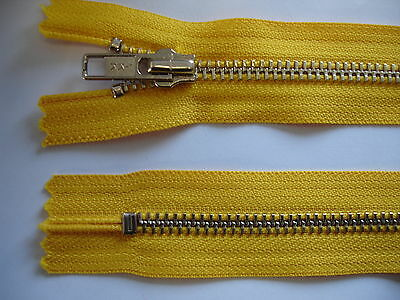 2 Stück Reißverschluß YKK gelb  16cm lang, nicht teilbar Y59