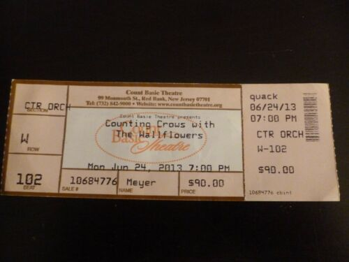 Counting Crows with The Wallflowers 2013 Concert Ticket Stub Count Basie NJ