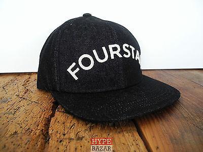 Applique Cap (FOURSTAR CLOTHING ARCHED APPLIQUE STRAPBACK CAP NEU BLACK 4-STAR CLOTHING)