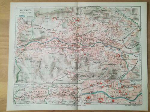 BARMEN Wuppertal Heckinghausen Stadtplan von 1909 Schwebebahn Fatloh Heidt