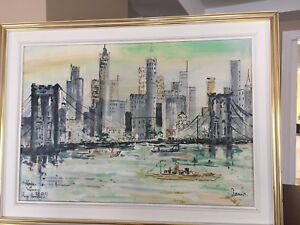 Peinture New-York Skyline / Brooklyn Bridge