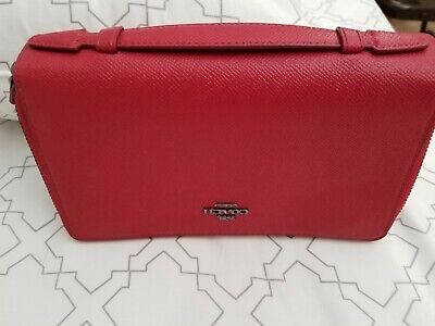 AUTHENTIC  Coach Red LEATHER Double Zip Travel Wallet Organizer (EUC)