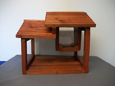 NEW!!  LARGE HAND CRAFTED PAVILION FLY-THRU; STAY DRY CABIN STYLE BIRD FEEDER
