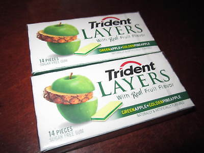 Trident Layers Gum, Green APPLE + Golden PINEAPPLE; (2 Sealed Collectors Packs)