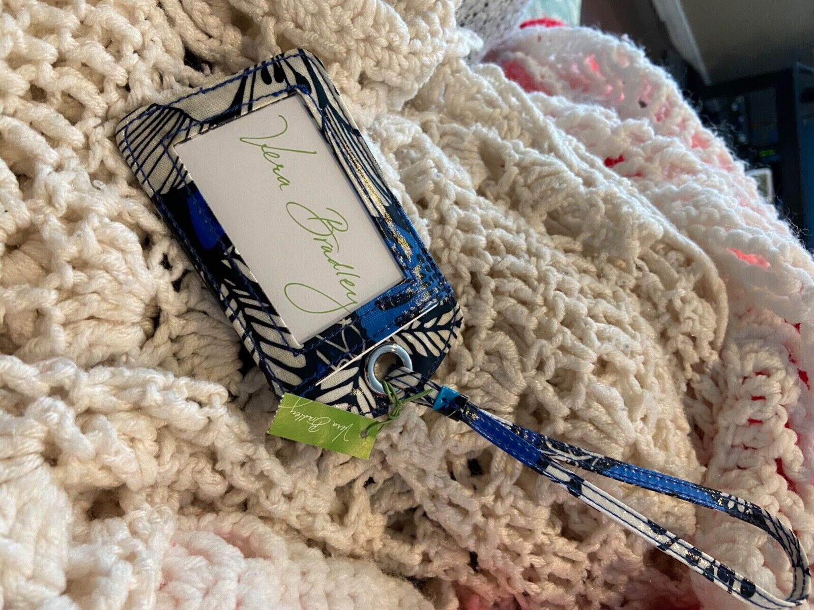 Vera Bradley Luggage Tag VINTAGE RETIRED New With Tag Blue Bayou  - $4.25