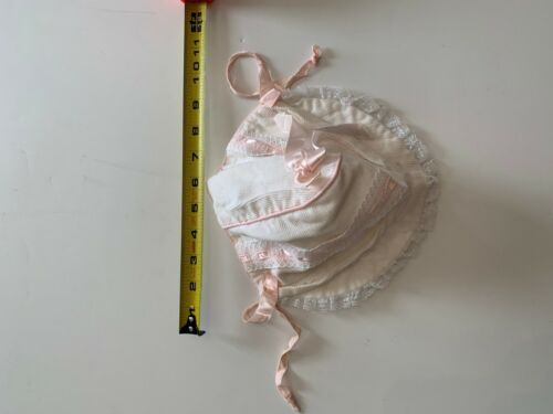 Vintage White and Pink Baby Bonnet
