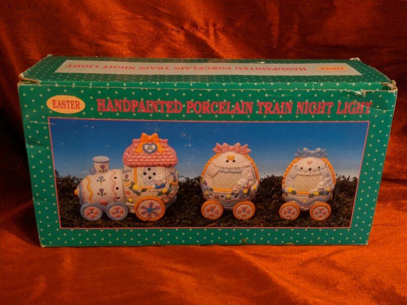 Hand Painted Porcelain 3 Piece Set  Easter Egg Train Decoration (brand new)
