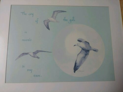 D. Morgan Watercolor Art Print Signed Seagulls Ocean Birds Framed Beach House - $25.00