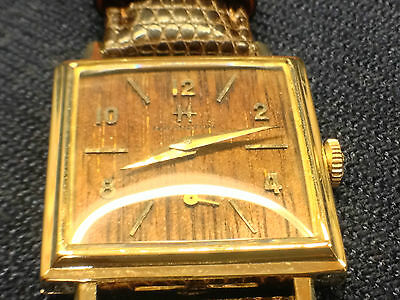 VINTAGE 1961 HAMILTON 14K GOLD SHERWOOD M WOOD DIAL MENS WRIST WATCH ULTRA RARE