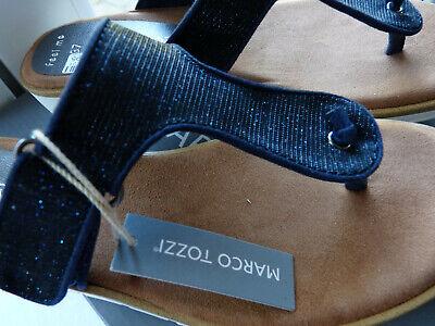 Neu Marco Tozzi Sandale Zehentrenner gr.37 Farbe Navy Metallic 2-27101-22 824