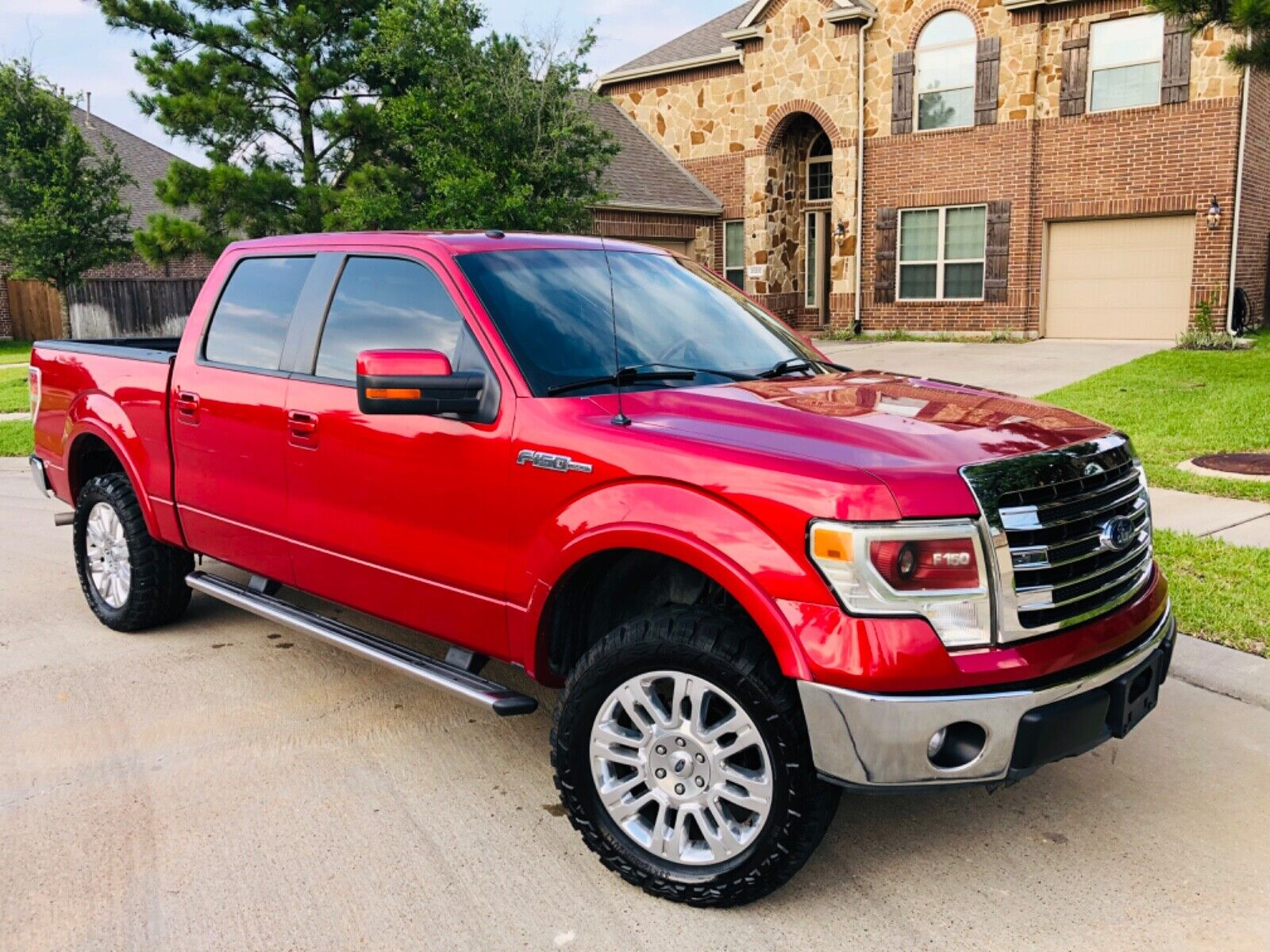 FORD F150 LARIAT 146k Miles RED 4 DOOR CAB STYLE SUPER CREW V8 NEW CHROME WHEELS