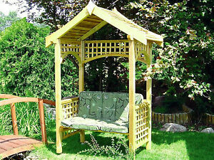 BIG WOODEN ARBOUR WITH BENCH, PERGOLA, PRESSURE TREATED PERFECT FOR GARDEN