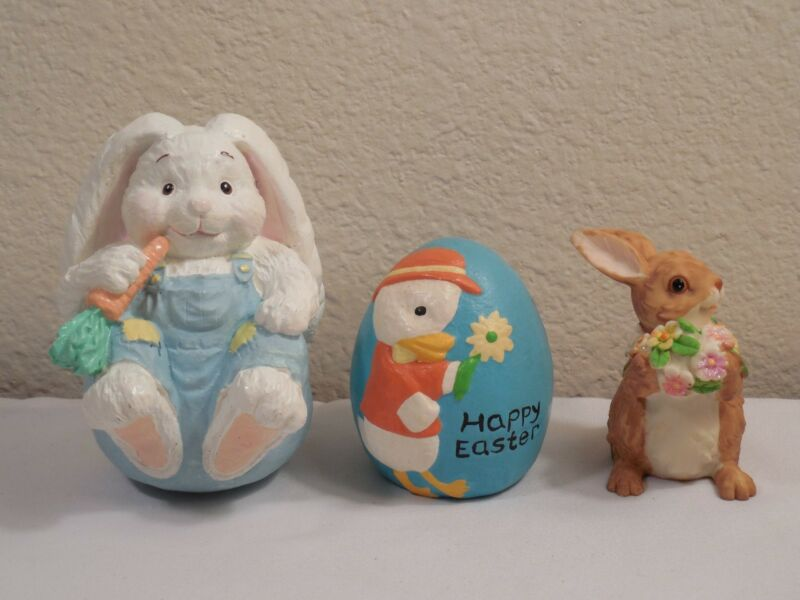 3 Easter Decorations ~ 2 Bunny Rabbits Figurines & An Egg Decorated With A Duck