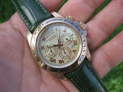 Invicta Speedway Canary Dial Rose Gold Ptd Men's Chronograph Watch! cosmograph ✅