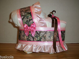 pink hunting camo girl diaper bassinet baby shower table decoration