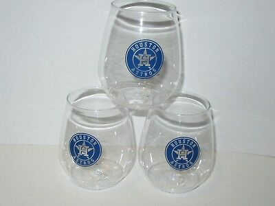 Houston Astros Pack Of 3 Stackable Plastic Tumbler 18oz Stemless Wine Drink Cups