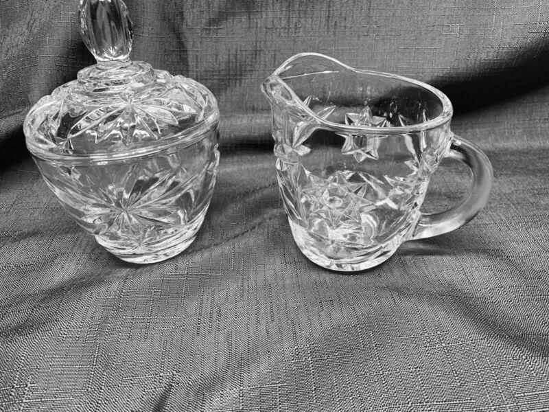 Anchor Hocking Glass Star of David Creamer & Sugar Bowl W/Lid Set EAPC Vintage