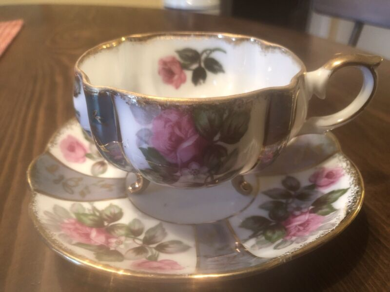Vintage Napco China Hand Painted Ceramic Japan Cup and Saucer Purple Floral