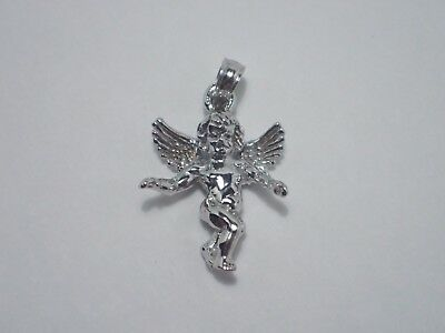 Angel Pendant Charm 3-D Guardian Angel 14K Solid White Gold