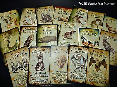 18 Halloween Vintage prim Witch Apothecary potion bottle Label stickers Series 9