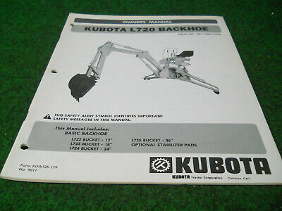 Kubota L720 Backhoe Owners Manual