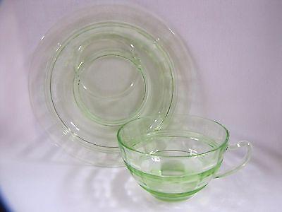 Vaseline Glass Plate Cup Green Glass Ridged Design Vintage 2 Piece Set