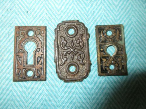 3 Antique Cast Iron Miscellaneous Door Knob Hardware Key Covers