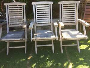 3 Old Folding Outdoor Timber Armchairs Beckenham Gosnells Area Preview