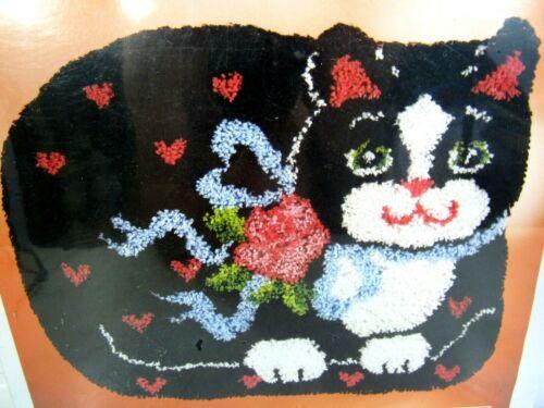 Vintage National Yarn Crafts Cat PURR FEC Latch Hook Kit Wall Hanging Rug SEALED