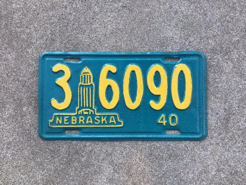 1940 - NEBRASKA LICENSE PLATE - REPAINTED