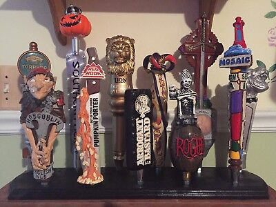 Beer Tap Handle Display Solid Wood Black Holds 11 Tap Handles (Not Included)