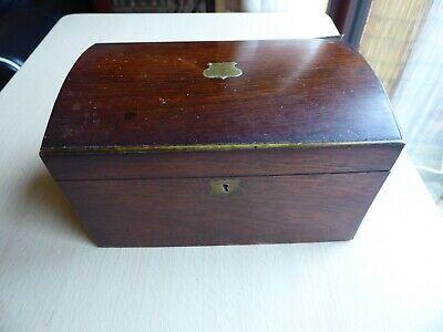 Antique Tea Caddy Mahogany Veneer Twin Compartment - for Restoration
