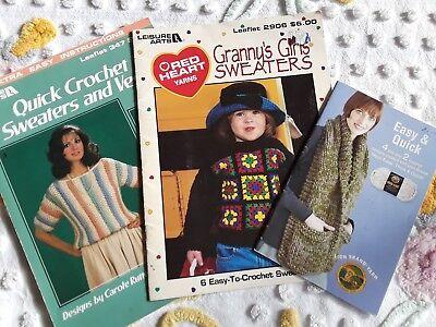 - Three Lion Brand & Leisure Art Crochet Booklets Sweaters Vests FUN!