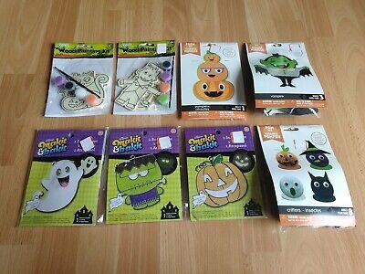 Paint Halloween Crafts (Halloween Crafts Lot of 8 - Makit Bakit Suncatchers, Paint By Numbers, Foam)