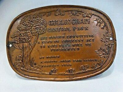 1855 CHILLIN CHAM  CENTRAL PARK  PLAQUE