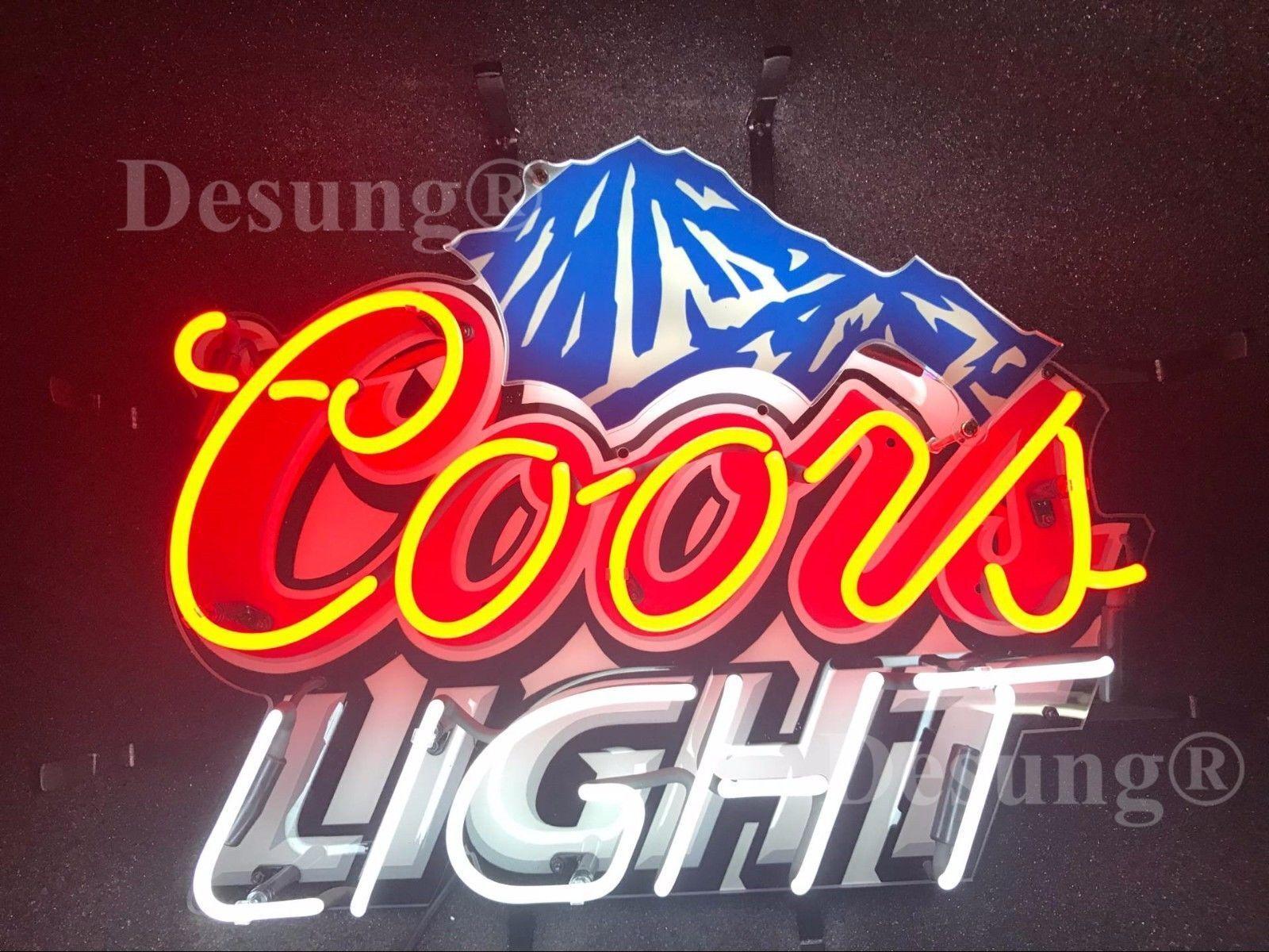 "Coors Light Mountain Beer Bar Neon Sign 19""x15"" HD Vivid Pri"