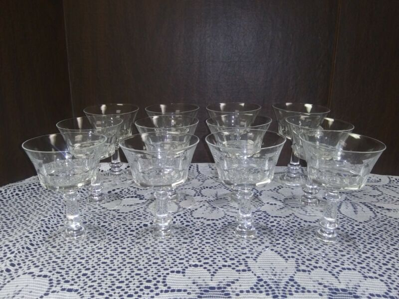 Vintage Fostoria Crystal Dolly Madison Set of 12 Champagne Tall Sherbet Glasses
