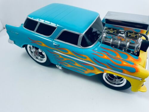 55 Nomad Blue with Flames 1:18 Scale Muscle Machines No Box Please Read