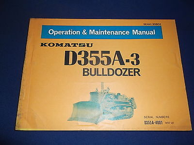 Komatsu D355a-3 Dozer Bulldozer Operation Maintenance Book Manual Sn 4001-up
