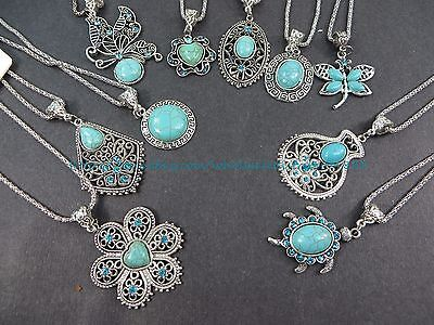 US SELLER-10 necklaces retro  wholesale lot turquoise jewelry pendant
