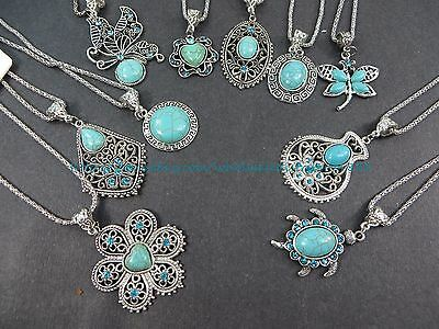 US SELLER-10 necklaces retro vintage wholesale lot turquoise jewelry pendant